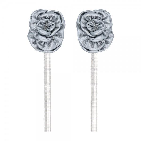 Zincirli silver çiçek küpe